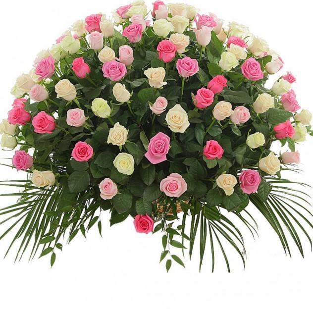 Корзина из 101 нежной розы № 5